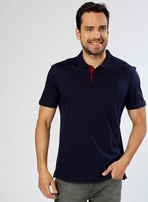 Cotton Bar Polo Yaka Tişört Lacivert